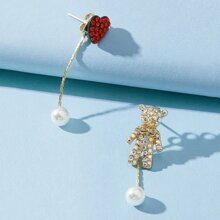 Rhinestone Bear & Heart Drop Earrings