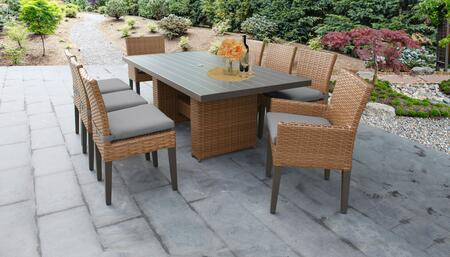 Laguna Collection LAGUNA-DTREC-KIT-6ADC2DCC-GREY Patio Dining Set With 1 Table  6 Side Chairs  2 Arm Chairs - Wheat and Grey