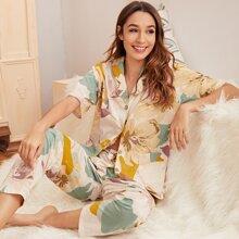 Conjunto de pijama con doble bolsillo con estampado floral grande