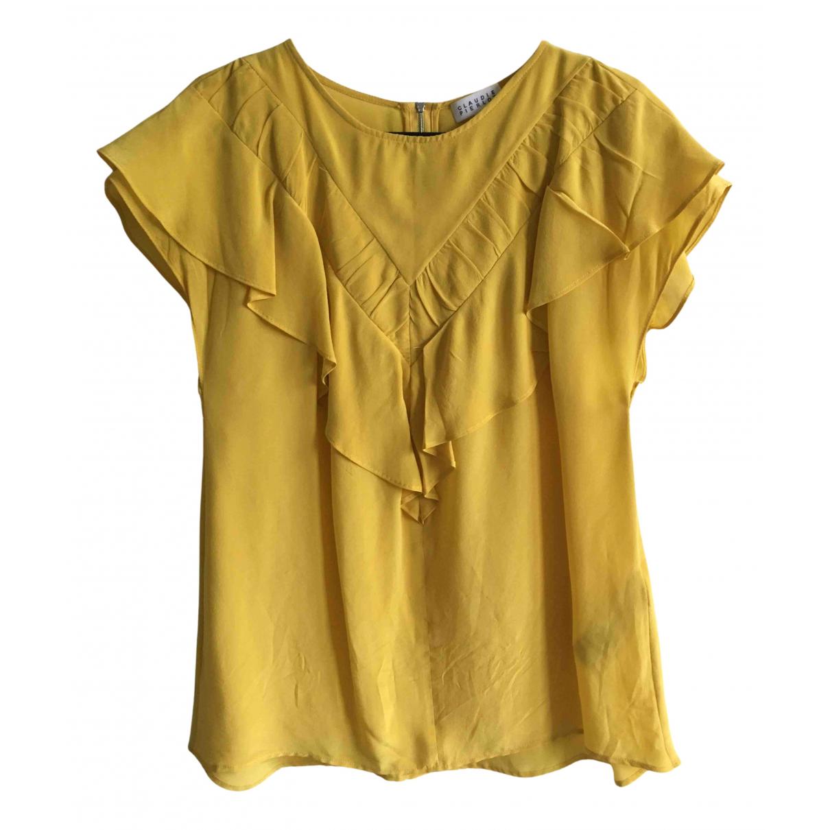 Claudie Pierlot N Yellow Silk  top for Women 36 FR