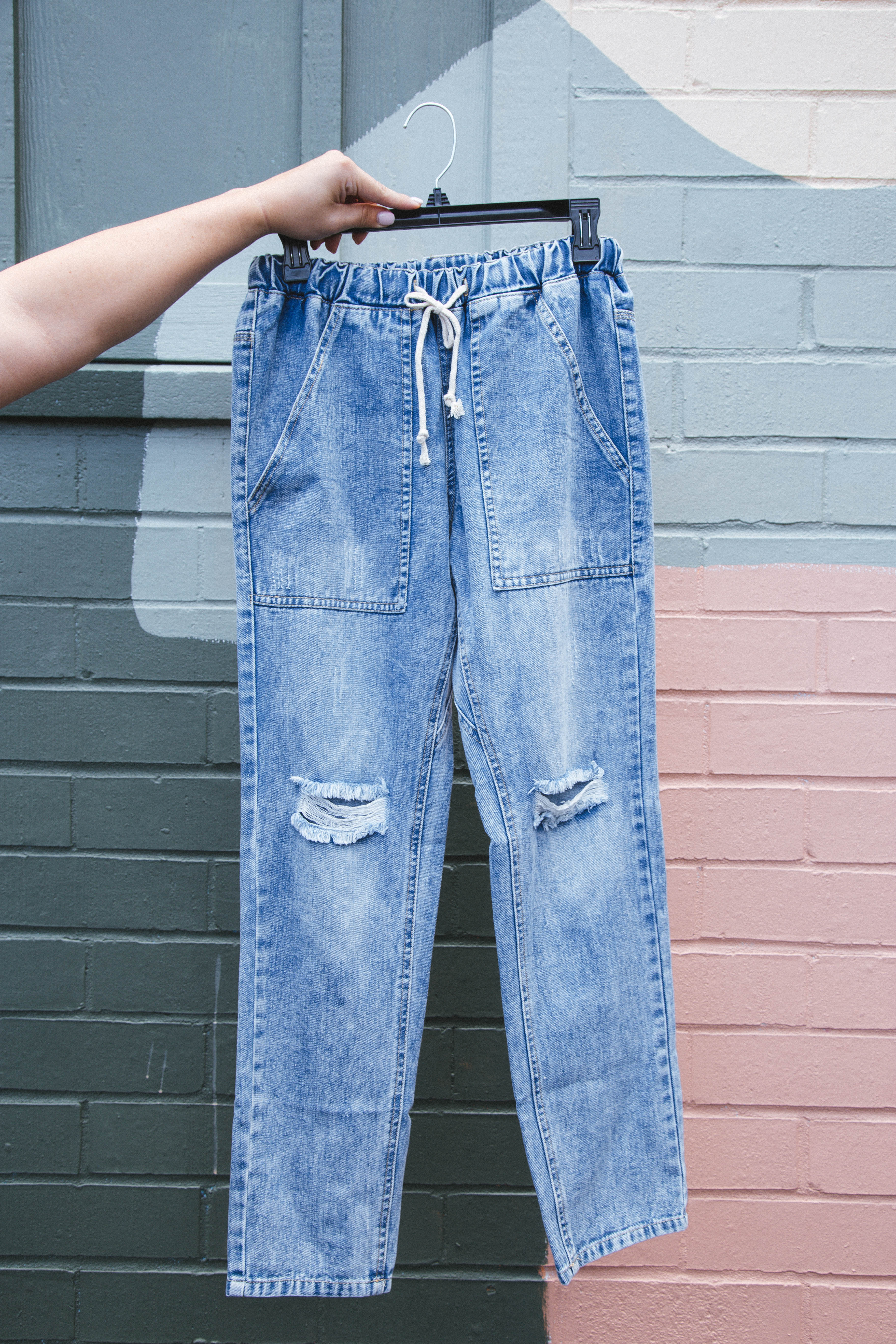 Rockwell Distressed Jogger Jeans Blue