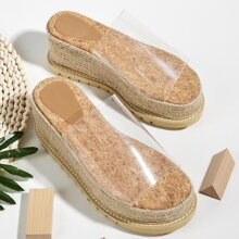 Open Toe Clear Strap Espadrille Wedges