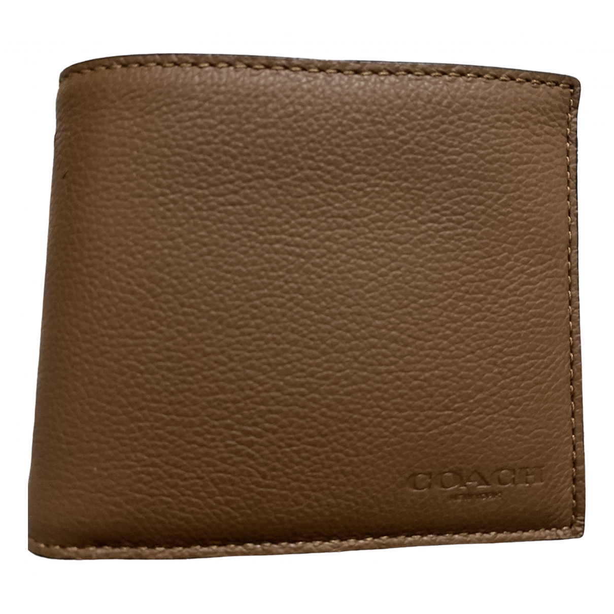 Coach \N Brown Leather Small bag, wallet & cases for Men \N
