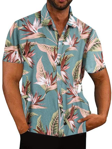 Yoins Men Summer Tropical Printed Casual Short Sleeve Shirt