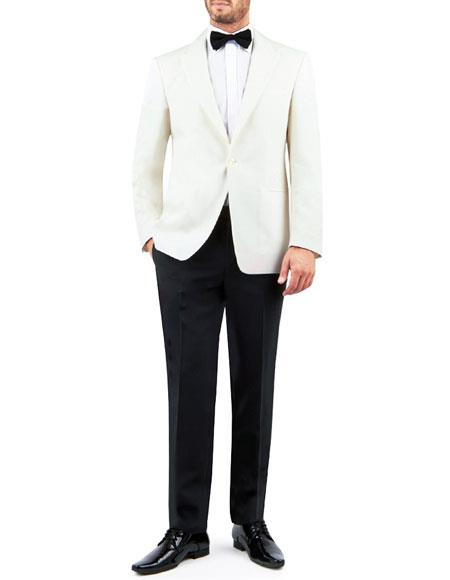 White Dinner Jacket Peak Lapel Sport Coat Blazer Single Buttons