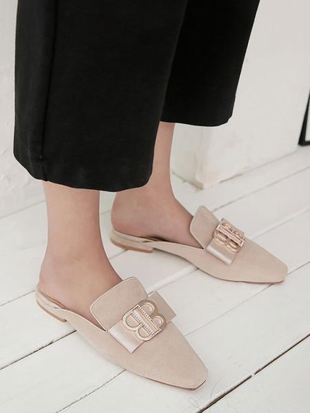 Milanoo Black Suede Mules Women Square Toe Metal Detail Slip-On Flat Shoes