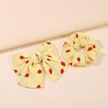 2 piezas accesorio de pelo con patron de fresa
