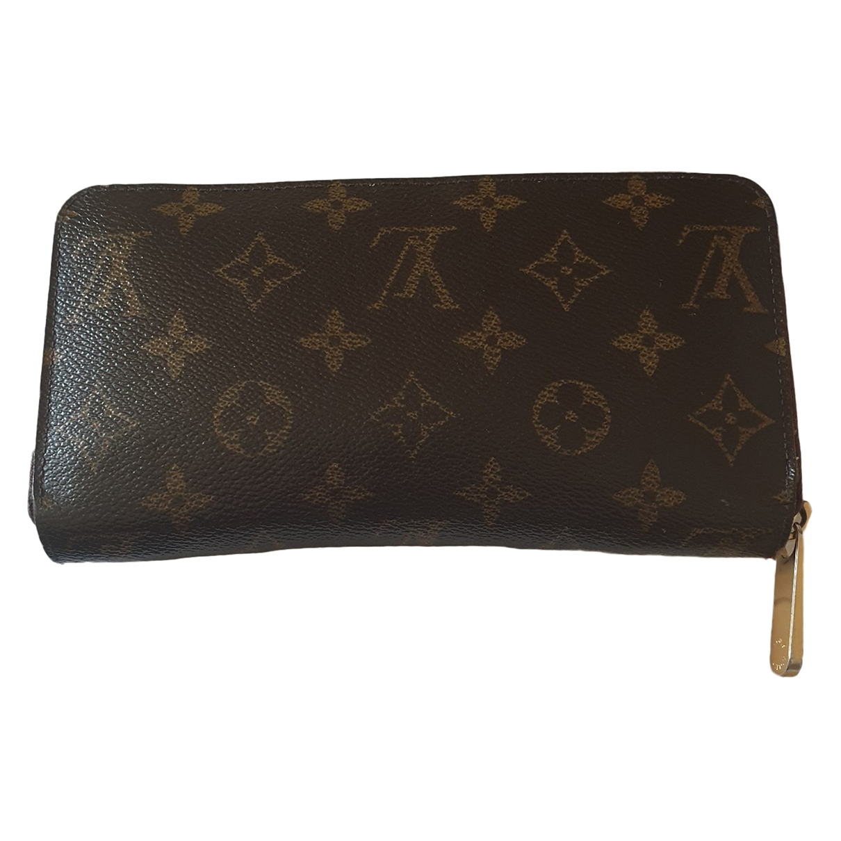 Louis Vuitton Zippy Portemonnaie in  Braun Leinen