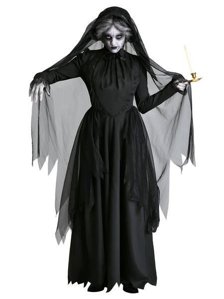 Milanoo Disfraz de Halloween para hombre Vestido de fibra de poliester negro Disfraz de vacaciones en capas de dos tonos