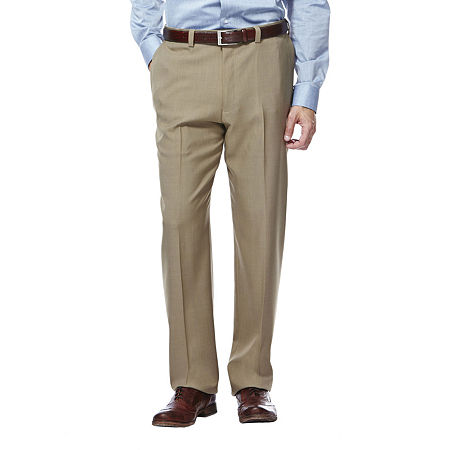 Haggar eCLo Stria Classic-Fit Flat-Front Dress Pants, 36 32, White