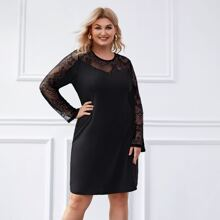 Plus Contrast Lace Tunic Dress
