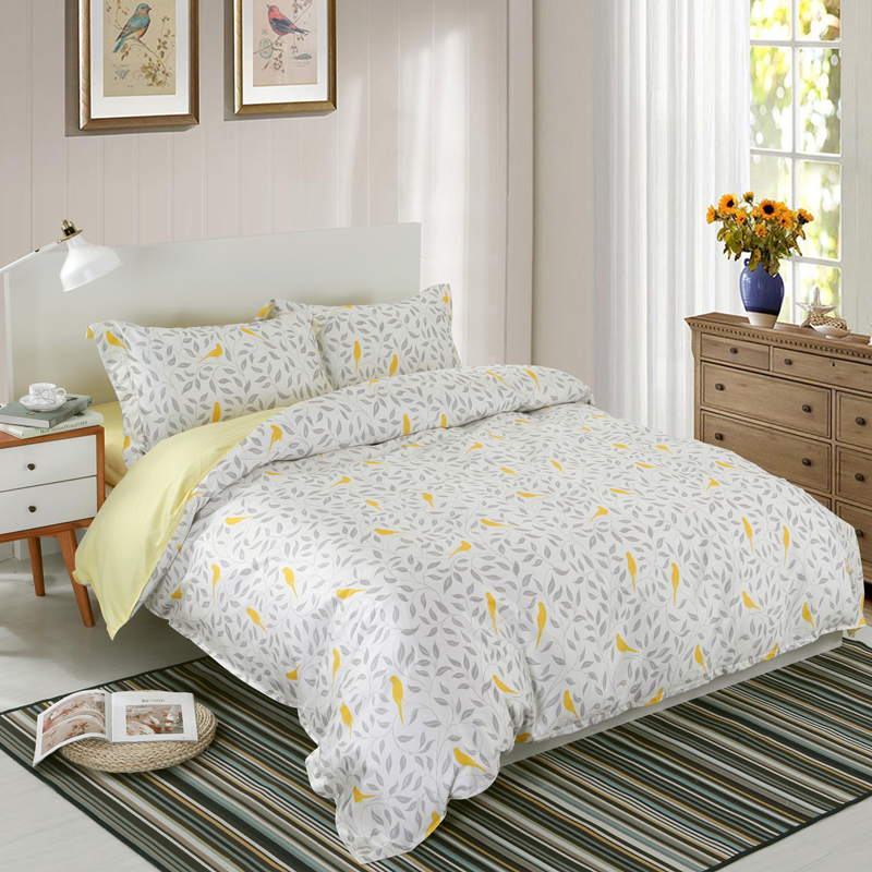 Designer 60S Brocade Green Leaves Yellow Birds Pastoral Style 4-Piece Cotton Bedding Sets