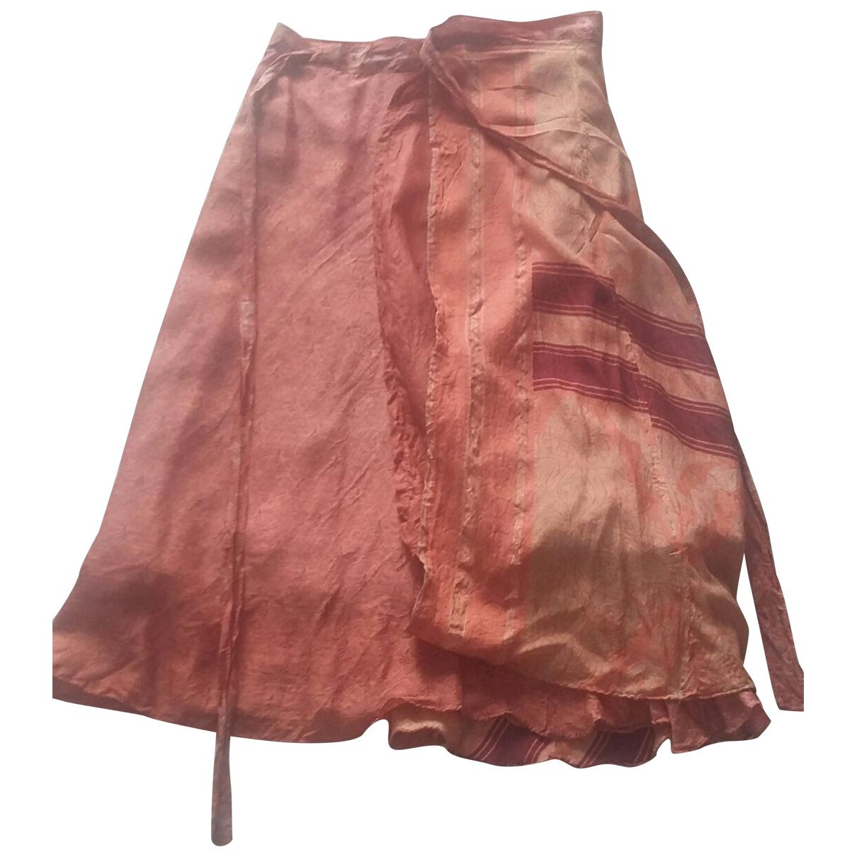 - Jupe Hippie Chic pour femme en soie - rose