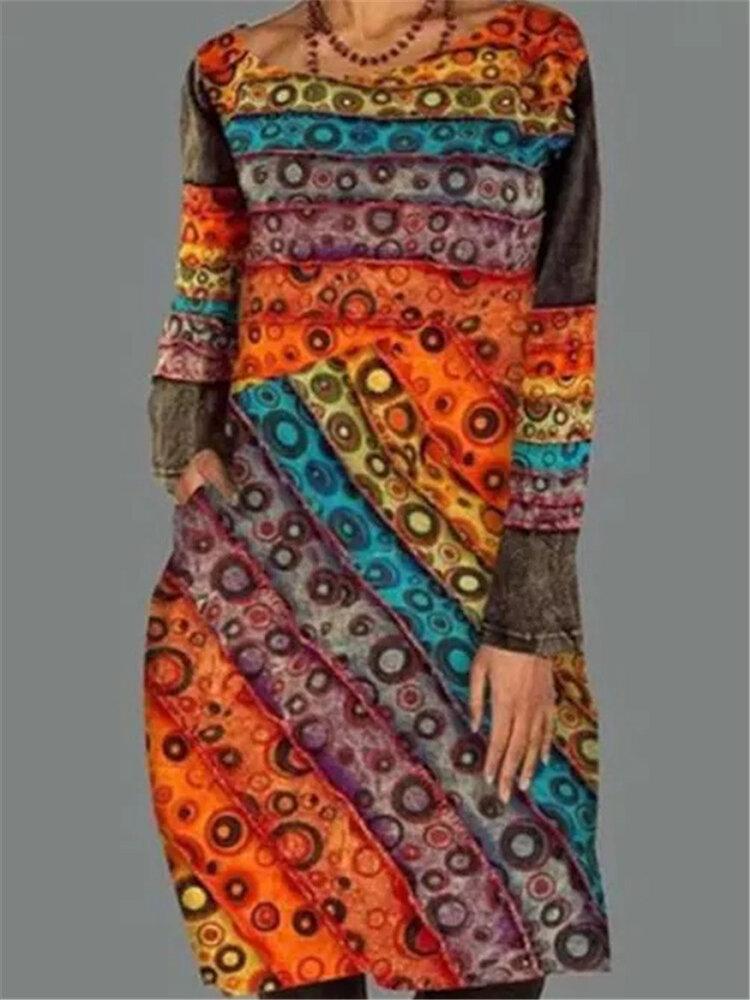 Vintage Color Block Print Long Sleeve Plus Size Dress