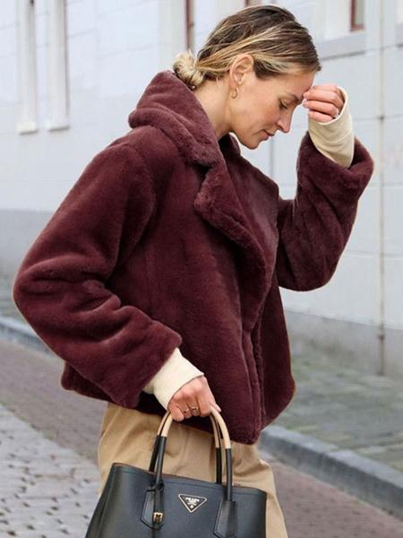 Milanoo Abrigos de piel sintetica para mujer Abrigo de invierno burdeos con cuello vuelto informal de manga larga