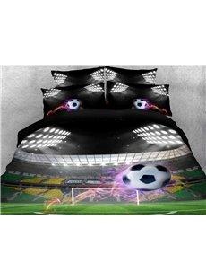 Vivilinen Flying Soccer Ball under Stadium Lights Printed Cotton 3D 4-Piece Bedding Sets/Duvet Covers