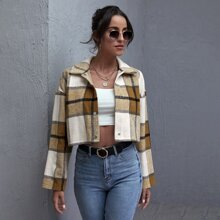 Collared Press Buttoned Plaid Jacket