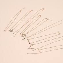 9 Stuecke Halskette mit Geometrie Anhaenger