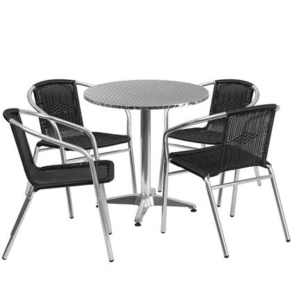 TLHALUM Collection TLH-ALUM-28RD-020BKCHR4-GG 5 Piece Indoor/Outdoor Patio Set with 4 Cafe Chairs  Round Shaped Table  Lightweight Aluminum Frame