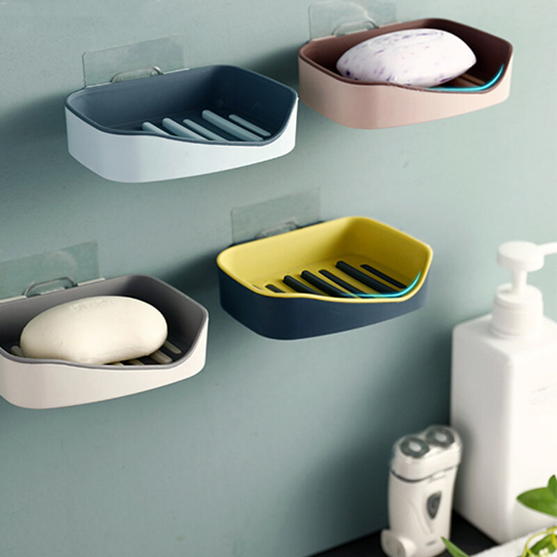 Powerful Seamless Paste Drain Soap Box Creative Double-Layer Non-handy Bathroom Shelf Suction Wall Soap Box