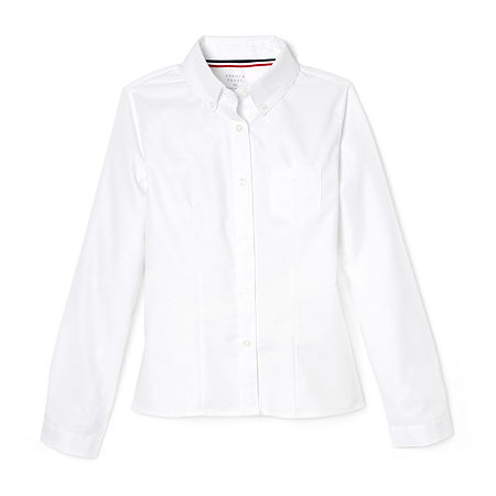 French Toast Little & Big Girls Long Sleeve Button-Down Shirt, 10.5 Plus , White