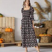 Milkmaid Kleid mit Blumen Muster und Rueschen