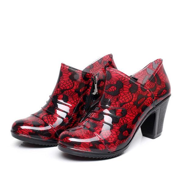 Fashion Rubber Floral Waterproof Ankle Zipper Rainboots