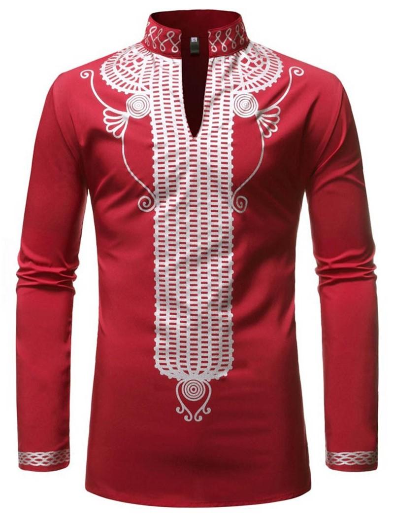 Ericdress African Fashion Stand Collar Print Casual Slim Mens Shirt