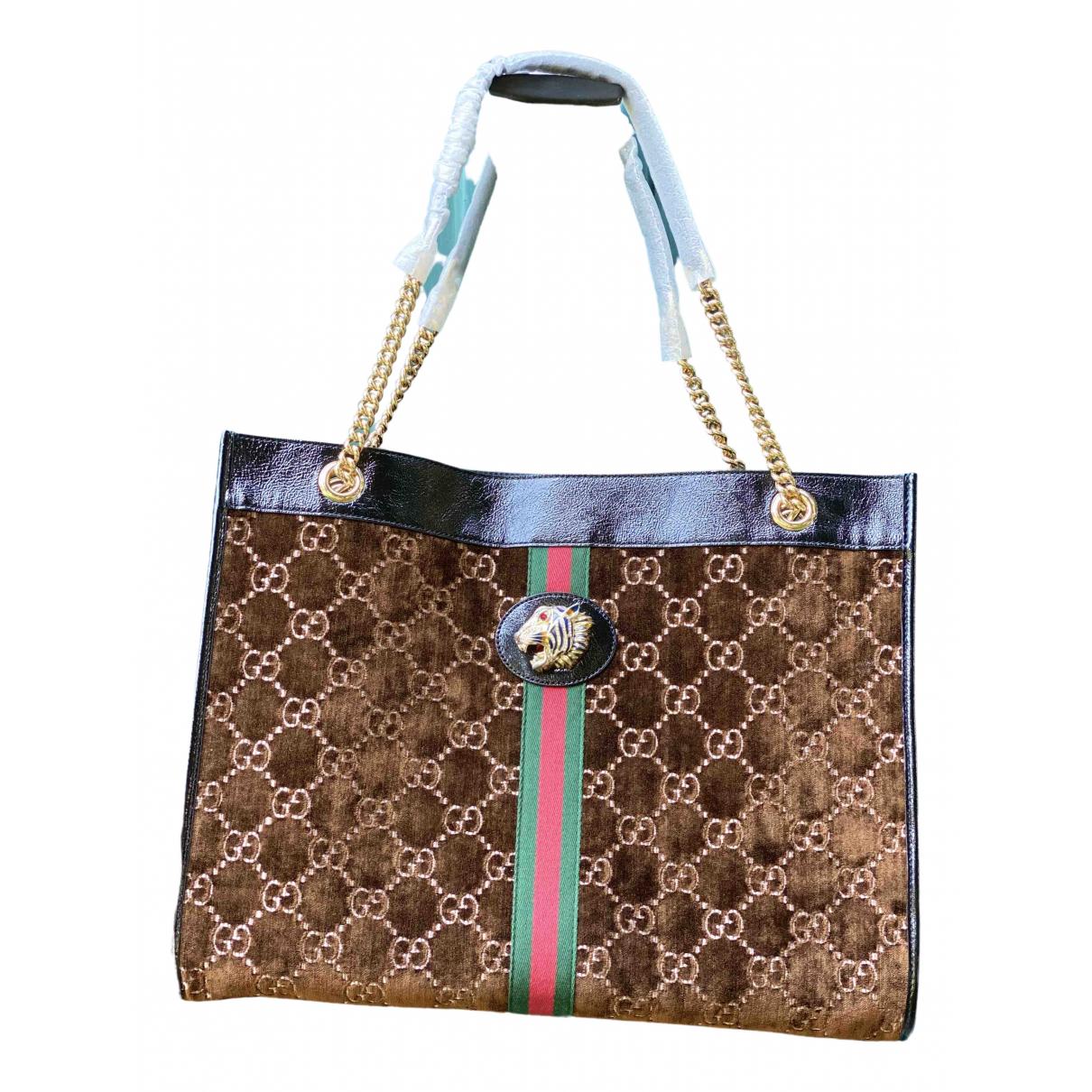Gucci - Sac a main Rajah pour femme en velours - marron