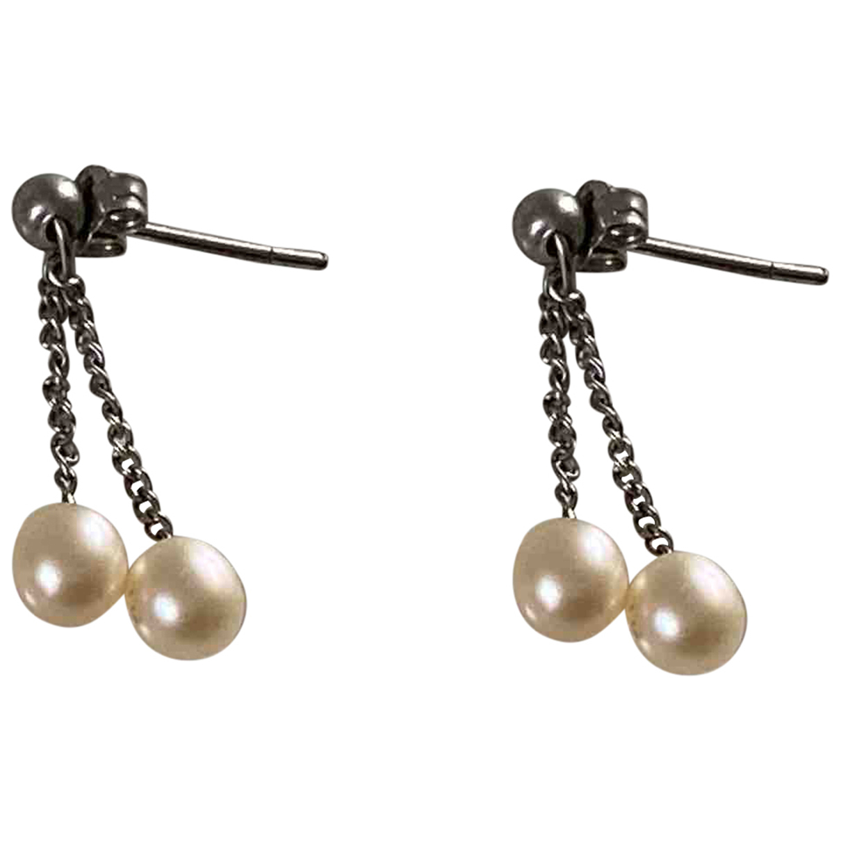 Non Signé / Unsigned Nacre Ecru Pearl Earrings for Women N