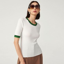 Contrast Trim Ribbed Knit Top