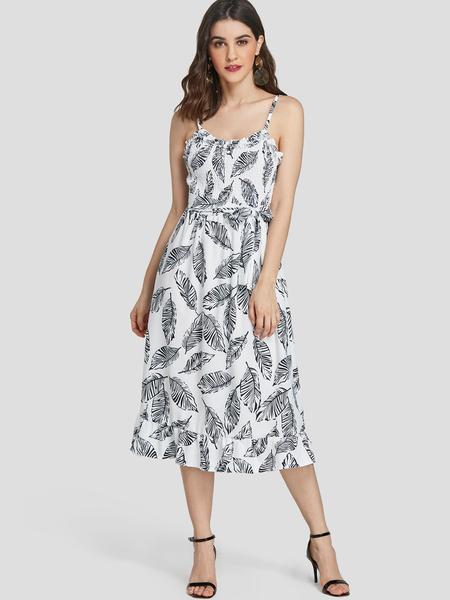 Yoins Leaf Print Flounced Hem Spaghetti Strap Dress