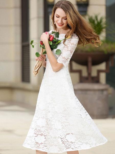 Milanoo White Lace Dress Bateau Half Sleeve Slim Fit Skater Dress For Women