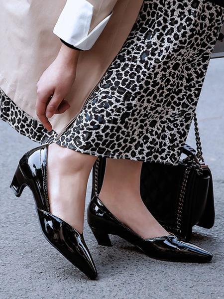 Milanoo Tacones medio-bajos para mujer Bombas elegantes con punta puntiaguda y tacon grueso negro