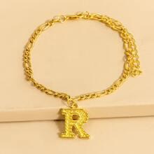 Gold Letter Charm Anklet