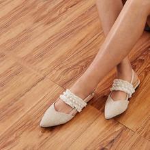 Zapatillas de talon abierto con banda bajo crudo con perlas artificiales