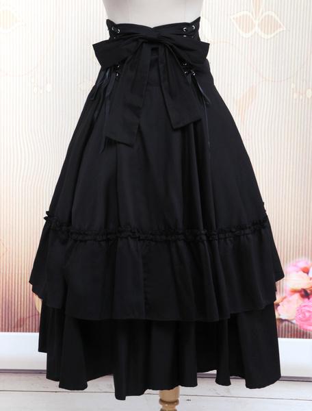 Milanoo Falda negra de Lolita con lazo