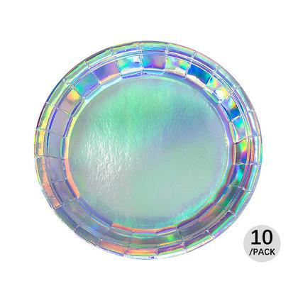 Papier de fête brillant irisé jetable, assiette ronde 9
