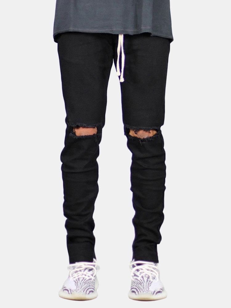 Casual Skinny Knee Hole Zipper Trouser Drawstring Cotton Hip-Hop Jeans for Men