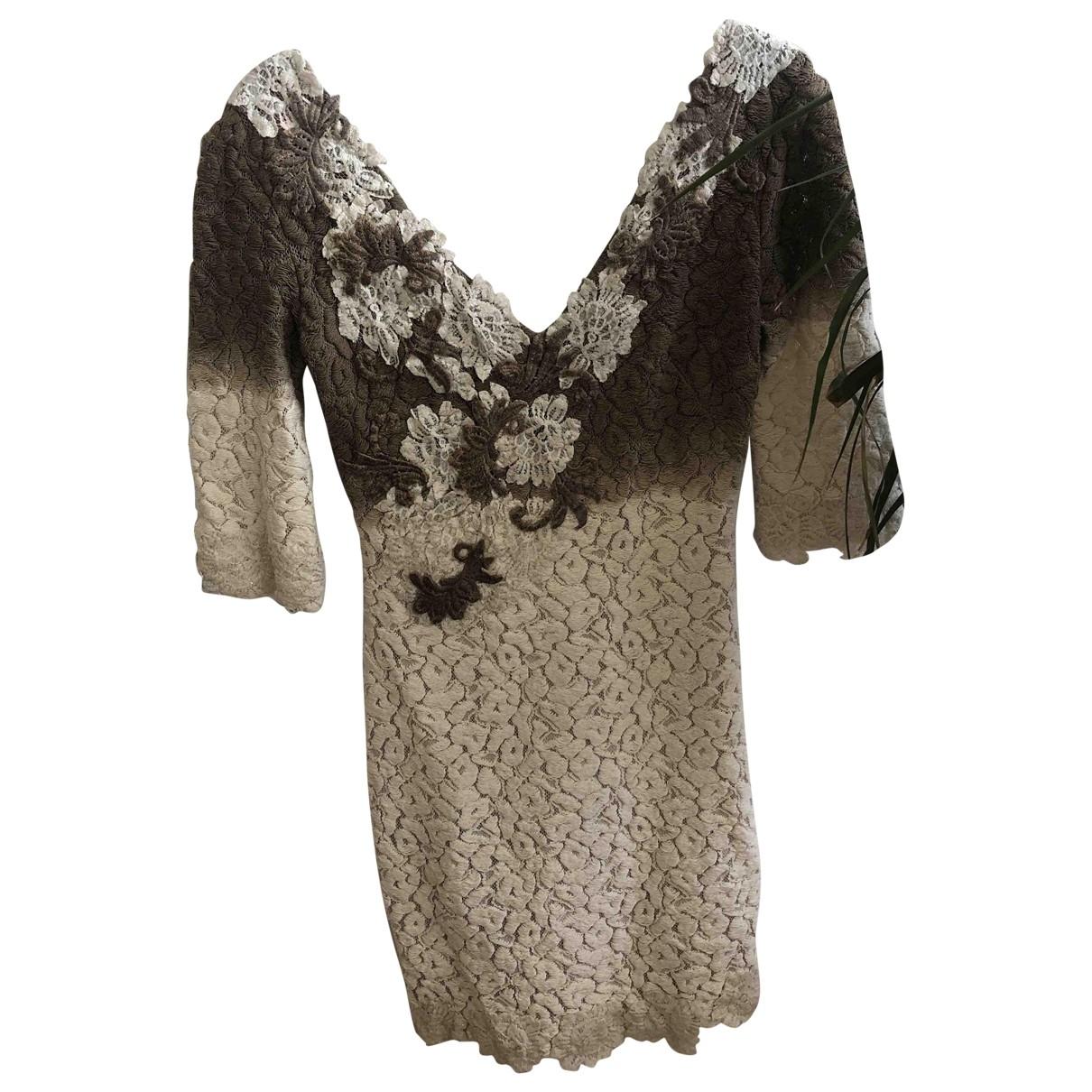Versace - Robe   pour femme en laine - beige