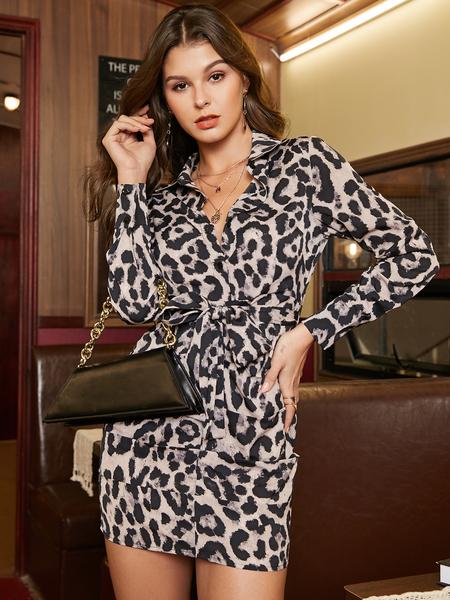 YOINS Belt Design Leopard Deep V Neck Ruched Dress