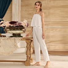 Cami Schlafanzug Set mit Rueschenbesatz