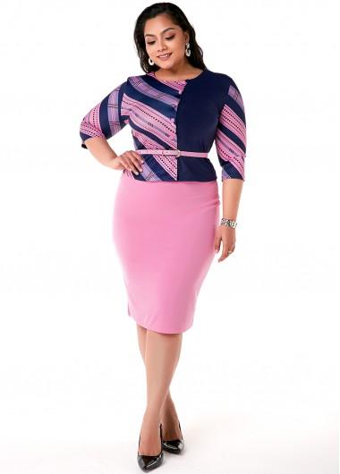 Plus Size Polka Dot Top and Skirt - 3XL