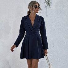 Buckle Belted Solid Dress