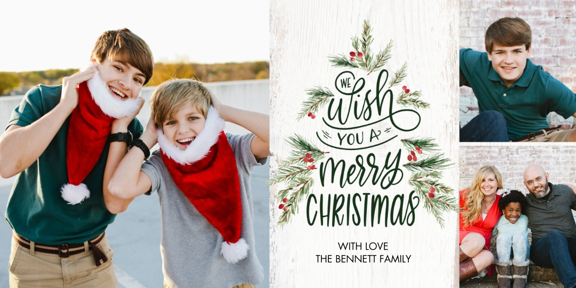 Christmas Photo Cards Flat Matte Photo Paper Cards with Envelopes, 4x8, Card & Stationery -Christmas Tree Festive by Tumbalina