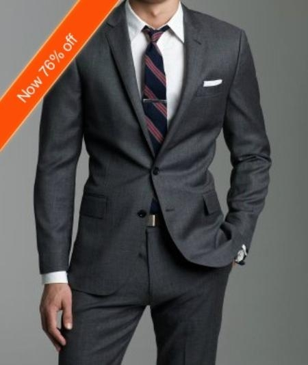 European Fitted Charcoal Suit in 2Button