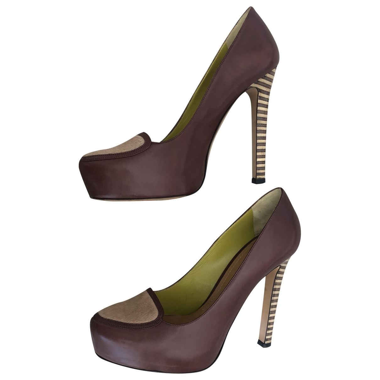 Pollini \N Brown Leather Heels for Women 40 IT
