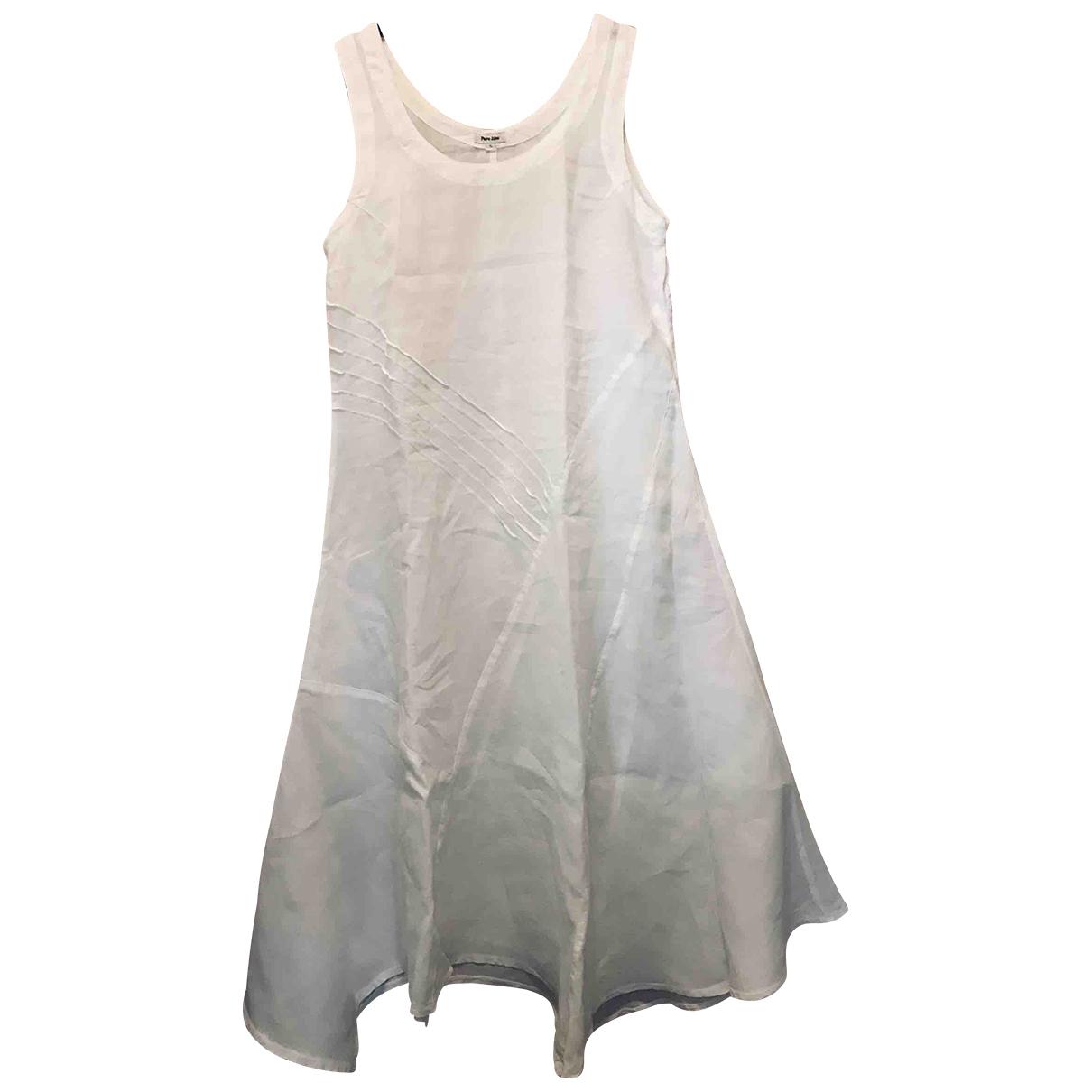 Non Signe / Unsigned Oversize Kleid in  Weiss Leinen