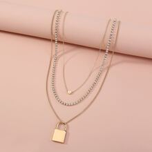 3pcs Gold Heart Charm Necklace