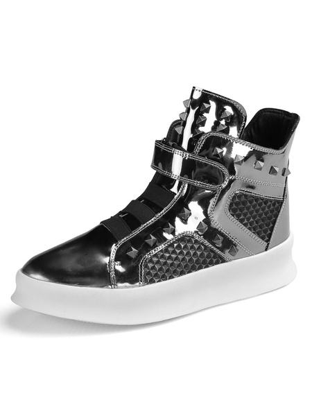 Milanoo Mens Sneakers 2020 Comfy Patent Leather Round Toe Rivets High Top Skate Shoes